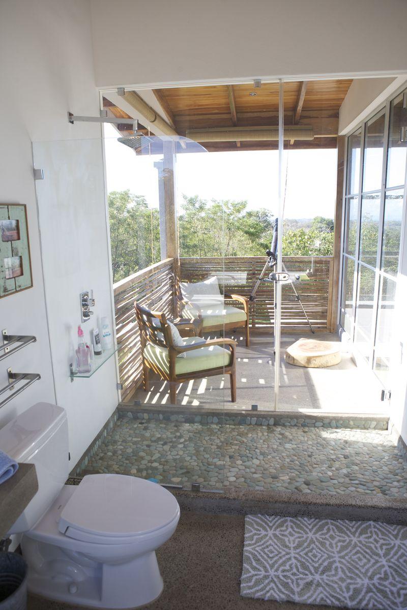 Upstairs shower and veranda